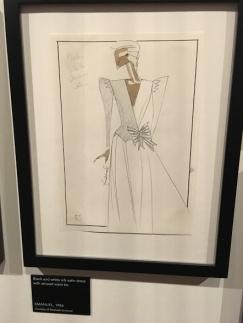 Elizabeth Emanuel design 1986 ~ Black & White silk satin dress with striped waist tie